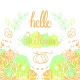 Hola Autumn Card con las letras Imágenes de archivo libres de regalías
