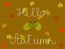Hola Autumn Hand Written Concept con el roble y las hojas de arce Foto de archivo libre de regalías