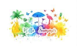 Hola bandera brillante del arco iris del verano, postal Siluetas del fondo y del verano del chapoteo de la acuarela de la palmera ilustración del vector