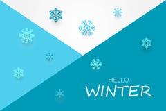 Hola bandera del invierno con los copos de nieve ilustración del vector