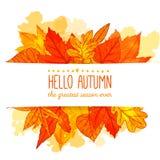 Hola bandera del otoño con la mano anaranjada y roja dibujada libre illustration