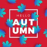Hola bandera del web de la promoción del otoño con el estampado de flores promo libre illustration