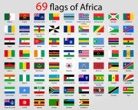 Hola botones brillantes del vector del detalle con todas las banderas africanas stock de ilustración