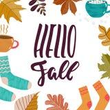 Hola caída - dé la frase positiva de saludo exhausta de las letras de Autumn Seasons con las hojas, calcetines, tazas de té, caca ilustración del vector