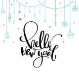 Hola caligrafía del Año Nuevo Letras manuscritas del cepillo para la tarjeta de felicitación, cartel ilustración del vector