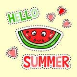 Hola cartel del verano con la sandía divertida ilustración del vector