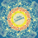 Hola cartel tipográfico del verano Fotos de archivo