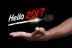 Hola 2017 con la mano Imagenes de archivo