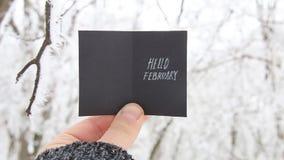 Hola concepto creativo de febrero almacen de video