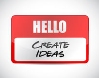 Hola cree el diseño del ejemplo de la etiqueta de las ideas Fotos de archivo