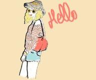 Hola de una muchacha rubia Foto de archivo