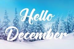 Hola diciembre foto de archivo
