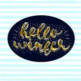 Hola diseño de letras moderno elegante del cepillo del oro del invierno que brilla en un ejemplo rayado azul del vector del fondo Imagenes de archivo