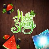 Hola diseño de tarjeta de la primavera stock de ilustración