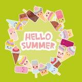 Hola diseño de tarjeta de verano para su texto marco redondo, guirnalda magdalenas, helado en conos de la galleta, polo de hielo  Fotos de archivo libres de regalías