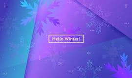 Hola disposición del invierno con los copos de nieve para el web, página de aterrizaje, bandera, cartel, plantilla del sitio web  stock de ilustración