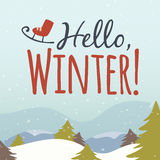 Hola ejemplo de la historieta del invierno Fotografía de archivo