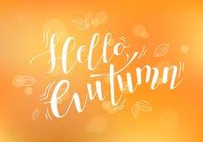 Hola ejemplo del vector del otoño Vector el ejemplo hola del texto del otoño para las banderas Fotos de archivo libres de regalías