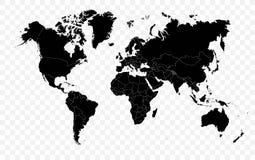 Hola ejemplo pol?tico del mapa del mundo del vector negro del detalle ilustración del vector