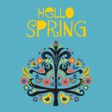 Hola ejemplo popular escandinavo del vector de la primavera ilustración del vector