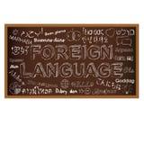 Hola en otros idiomas Garabato del tablero de tiza Fotografía de archivo