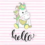 Hola en tipografía del unicornio y vector del ejemplo del unicornio Ejemplos para los niños Tarjeta de la ducha de bebé Imagen de archivo