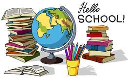 Hola escuela, elementos del designe Imagenes de archivo
