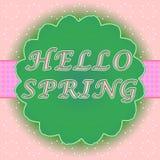 Hola etiqueta de la primavera Fotos de archivo libres de regalías