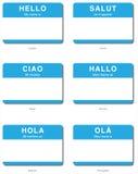 Hola etiqueta engomada en lenguajes europeos Imagen de archivo libre de regalías