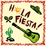 Hola fiesta. ! Card with calligraphy and sun. Guitar, maracas, sombrero.Hand drawn vector Royalty Free Stock Photo