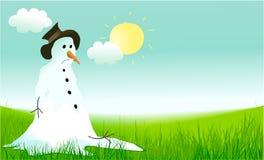 Hola fondo de la primavera con el muñeco de nieve triste libre illustration
