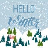 Hola fondo de la tarjeta de felicitación de la inscripción del invierno con los abetos ilustración del vector