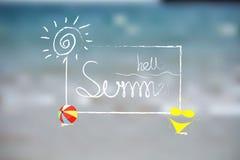 Hola fondo del ejemplo del verano logotipo del diseño del vector en tipografía de la etiqueta Foto de archivo