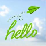 Hola frase en un cielo Foto de archivo libre de regalías