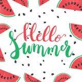 Hola frase pintada a mano de las letras del cepillo del verano aislada en el fondo blanco con la sandía colorida Imagenes de archivo