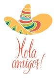 Hola-Freunde. Karte mit Kalligraphie und hellem farbigem Sombrero Stockfoto