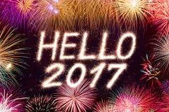 Hola fuego artificial de 2017 chispas Imagen de archivo