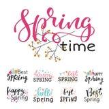 Hola gráfico dibujado mano especial de la primavera de la tipografía de la primavera de la tarjeta de felicitación del texto de l Imagen de archivo libre de regalías