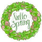 Hola guirnalda floral de la primavera Imagen de archivo libre de regalías