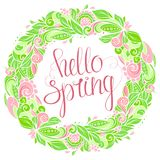 Hola guirnalda floral de la primavera Imagen de archivo