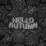 Hola hojas de otoño dibujadas con tiza en la pizarra negra stock de ilustración