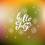 Hola impresión de las letras de julio Ejemplo minimalistic del verano stock de ilustración