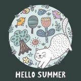 Hola impresión del verano con un gato lindo stock de ilustración