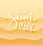 Hola inscripción caligráfica del verano Foto de archivo libre de regalías
