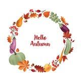 Hola inscripción del otoño escrita con la escritura caligráfica elegante dentro del marco redondo o la guirnalda hecha de estacio stock de ilustración