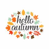 Hola inspiración del diseño de la tipografía del otoño imágenes de archivo libres de regalías