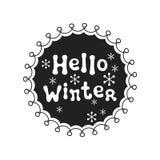 Hola invierno Frase de la caligrafía El poner letras manuscrito de las estaciones Frase de Navidad Elemento drenado mano holidays stock de ilustración
