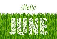 Hola junio Fuente decorativa hecha en remolinos y elementos florales Foto de archivo libre de regalías