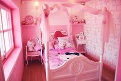 Hola Kitty Theme Bedroom Imagen de archivo libre de regalías