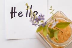 Hola la tarjeta y el balneario del mensaje del saludo salan el aroma de toda la comida de piel de las flores con las flores púrpu Fotografía de archivo libre de regalías